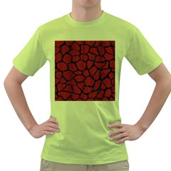 Skin1 Black Marble & Reddish Brown Wood (r) Green T Shirt by trendistuff