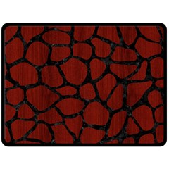 Skin1 Black Marble & Reddish Brown Wood (r) Double Sided Fleece Blanket (large)  by trendistuff