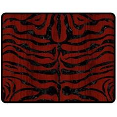 Skin2 Black Marble & Reddish Brown Wood Double Sided Fleece Blanket (medium)  by trendistuff