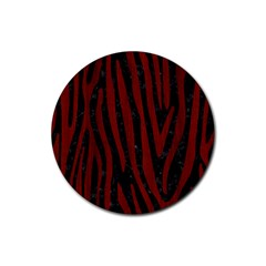 Skin4 Black Marble & Reddish Brown Wood Rubber Coaster (round)  by trendistuff