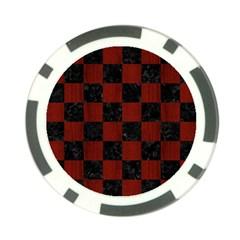 Square1 Black Marble & Reddish Brown Wood Poker Chip Card Guard (10 Pack) by trendistuff