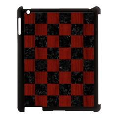Square1 Black Marble & Reddish Brown Wood Apple Ipad 3/4 Case (black) by trendistuff