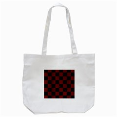Square1 Black Marble & Reddish Brown Wood Tote Bag (white) by trendistuff