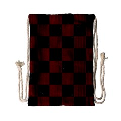 Square1 Black Marble & Reddish Brown Wood Drawstring Bag (small) by trendistuff