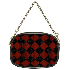 Square2 Black Marble & Reddish Brown Wood Chain Purses (one Side)  by trendistuff