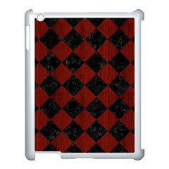 Square2 Black Marble & Reddish Brown Wood Apple Ipad 3/4 Case (white) by trendistuff