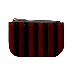 Stripes1 Black Marble & Reddish Brown Wood Mini Coin Purses by trendistuff