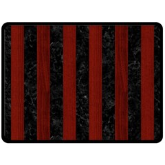 Stripes1 Black Marble & Reddish Brown Wood Double Sided Fleece Blanket (large)  by trendistuff