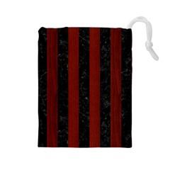 Stripes1 Black Marble & Reddish Brown Wood Drawstring Pouches (large)