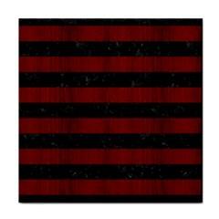 Stripes2 Black Marble & Reddish Brown Wood Tile Coasters by trendistuff