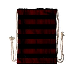 Stripes2 Black Marble & Reddish Brown Wood Drawstring Bag (small) by trendistuff