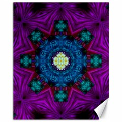 Sunshine Mandala And Fantasy Snow Floral Canvas 11  X 14   by pepitasart