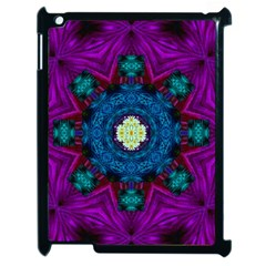 Sunshine Mandala And Fantasy Snow Floral Apple Ipad 2 Case (black) by pepitasart