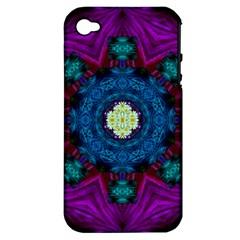 Sunshine Mandala And Fantasy Snow Floral Apple Iphone 4/4s Hardshell Case (pc+silicone) by pepitasart