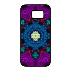 Sunshine Mandala And Fantasy Snow Floral Samsung Galaxy S7 Edge Black Seamless Case by pepitasart