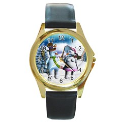 Funny, Cute Snowman And Snow Women In A Winter Landscape Round Gold Metal Watch by FantasyWorld7