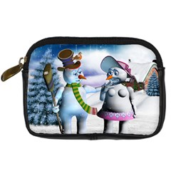 Funny, Cute Snowman And Snow Women In A Winter Landscape Digital Camera Cases by FantasyWorld7