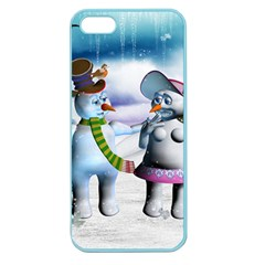 Funny, Cute Snowman And Snow Women In A Winter Landscape Apple Seamless Iphone 5 Case (color) by FantasyWorld7