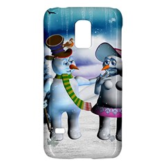 Funny, Cute Snowman And Snow Women In A Winter Landscape Galaxy S5 Mini by FantasyWorld7