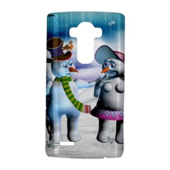 Funny, Cute Snowman And Snow Women In A Winter Landscape Lg G4 Hardshell Case by FantasyWorld7