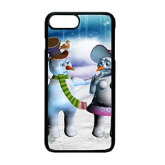 Funny, Cute Snowman And Snow Women In A Winter Landscape Apple Iphone 7 Plus Seamless Case (black) by FantasyWorld7