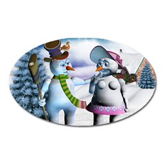 Funny, Cute Snowman And Snow Women In A Winter Landscape Oval Magnet by FantasyWorld7