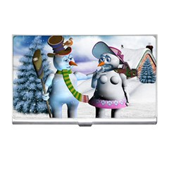 Funny, Cute Snowman And Snow Women In A Winter Landscape Business Card Holders by FantasyWorld7