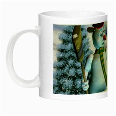 Funny, Cute Snowman And Snow Women In A Winter Landscape Night Luminous Mugs by FantasyWorld7