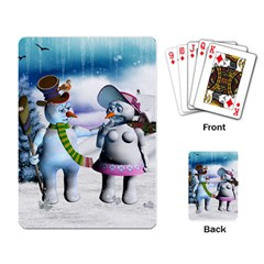 Funny, Cute Snowman And Snow Women In A Winter Landscape Playing Card by FantasyWorld7