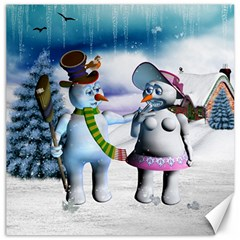 Funny, Cute Snowman And Snow Women In A Winter Landscape Canvas 12  X 12   by FantasyWorld7