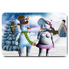 Funny, Cute Snowman And Snow Women In A Winter Landscape Large Doormat  by FantasyWorld7