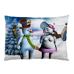 Funny, Cute Snowman And Snow Women In A Winter Landscape Pillow Case (two Sides) by FantasyWorld7