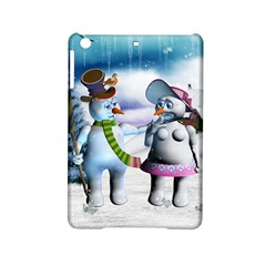 Funny, Cute Snowman And Snow Women In A Winter Landscape Ipad Mini 2 Hardshell Cases by FantasyWorld7