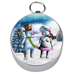 Funny, Cute Snowman And Snow Women In A Winter Landscape Silver Compasses by FantasyWorld7