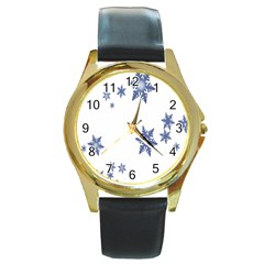 Star Snow Blue Rain Cool Round Gold Metal Watch by AnjaniArt