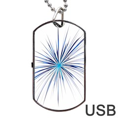 Fireworks Light Blue Space Happy New Year Dog Tag Usb Flash (two Sides) by AnjaniArt