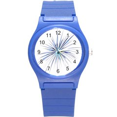 Fireworks Light Blue Space Happy New Year Round Plastic Sport Watch (s) by AnjaniArt