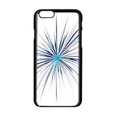 Fireworks Light Blue Space Happy New Year Apple Iphone 6/6s Black Enamel Case by AnjaniArt