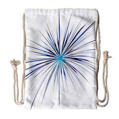 Fireworks Light Blue Space Happy New Year Drawstring Bag (large) by AnjaniArt