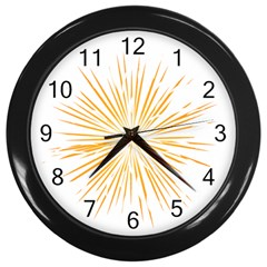 Fireworks Light Yellow Space Happy New Year Wall Clocks (black) by AnjaniArt