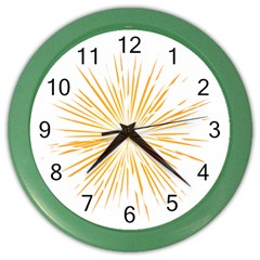 Fireworks Light Yellow Space Happy New Year Color Wall Clocks by AnjaniArt