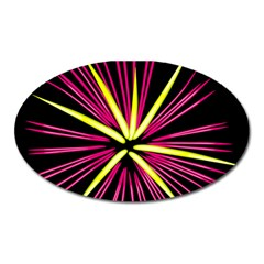 Fireworks Pink Red Yellow Black Sky Happy New Year Oval Magnet by AnjaniArt
