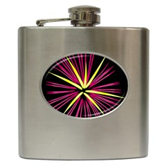 Fireworks Pink Red Yellow Black Sky Happy New Year Hip Flask (6 Oz) by AnjaniArt