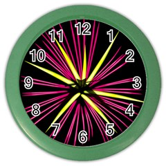 Fireworks Pink Red Yellow Black Sky Happy New Year Color Wall Clocks by AnjaniArt