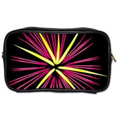 Fireworks Pink Red Yellow Black Sky Happy New Year Toiletries Bags 2 Side by AnjaniArt