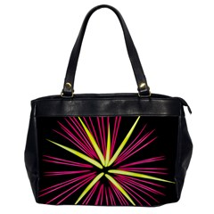 Fireworks Pink Red Yellow Black Sky Happy New Year Office Handbags by AnjaniArt