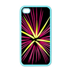 Fireworks Pink Red Yellow Black Sky Happy New Year Apple Iphone 4 Case (color) by AnjaniArt