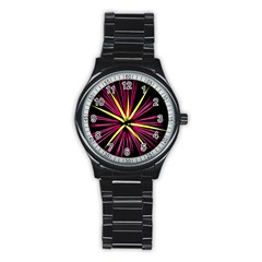 Fireworks Pink Red Yellow Black Sky Happy New Year Stainless Steel Round Watch by AnjaniArt
