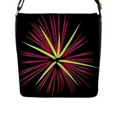 Fireworks Pink Red Yellow Black Sky Happy New Year Flap Messenger Bag (l)  by AnjaniArt