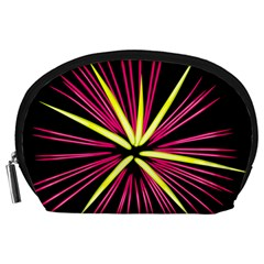 Fireworks Pink Red Yellow Black Sky Happy New Year Accessory Pouches (large)  by AnjaniArt